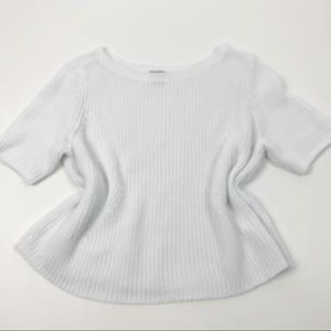 Halogen White Short Sleeve Ribbed Knit Sweater